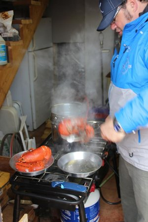 Prince Edward Island Culinary Adventures: Ross cooking up our fresh lobster.