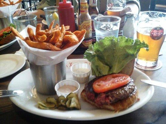 Max Burger: Kobe Beef Burger and Sweet Potato Fries.