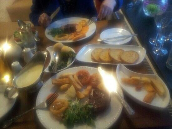 Llechwen Hall Hotel and Restaurant: meal for two.