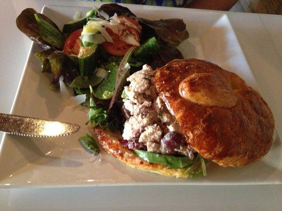 The Wine Bar: chicken salad sandwich and side salad