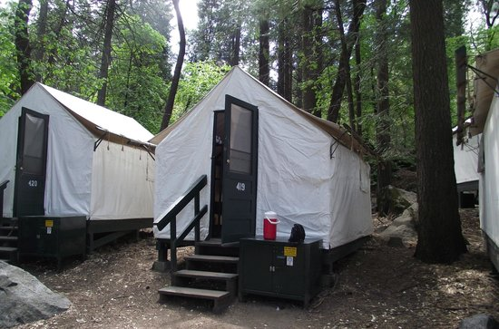 Front of tent picture of half dome village yosemite for Half dome tent cabins