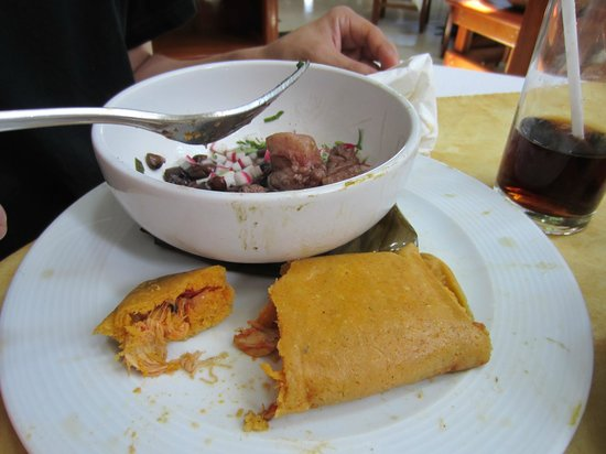 Labna: Corn tamale with turkey in black chili sauce