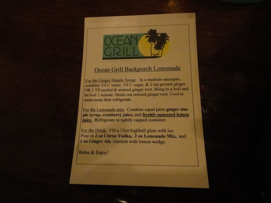 Ocean Grill: Make this drink!