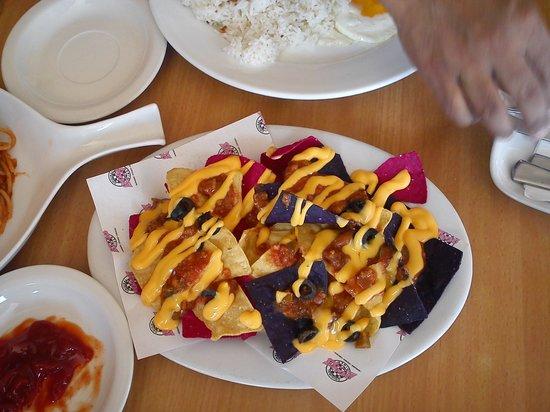 Mile Hi Diner: multi colored nachos,..:(