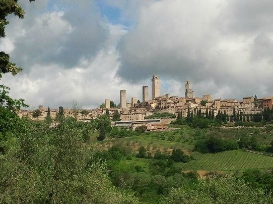 Hotel Sovestro: Blick auf San Gimignano nach ca. 600m Fußweg vom Hotel entfernt