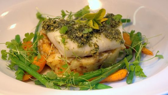 Pure Taste Pop Up: Oven baked pollock topped with pumpkin seed pesto