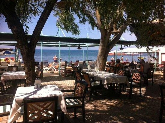 Lavitas Hotel: Blick von der Strandbar aufs Meer