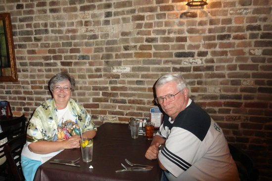 Maple Street Grill: Old time brick wall ambiance