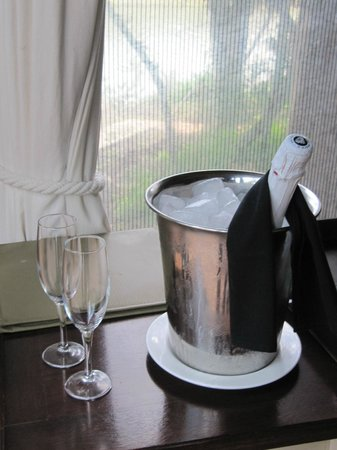 Sibuya Game Reserve & Tented Camp: Complimentary bubbly for our honeymoon