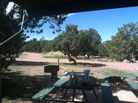 Prospectors RV Resort: View from campsite #69 toward Cabin #6