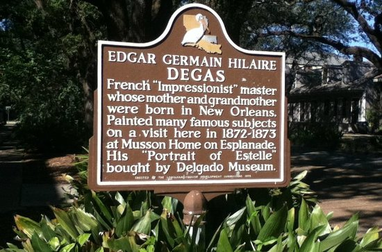 Edgar Degas House Creole Impressionist Tour : sign outside of house