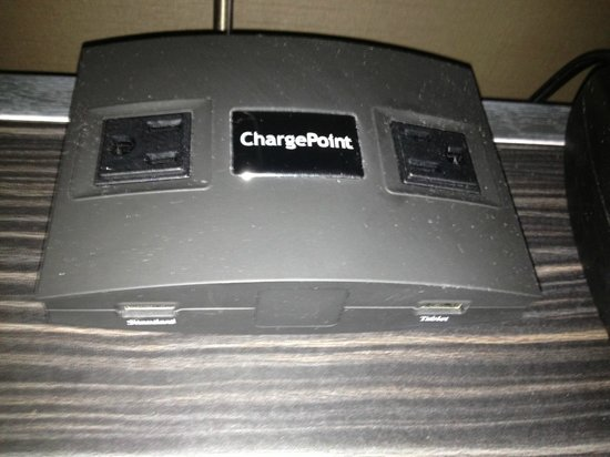 Hampton Inn & Suites Buffalo Downtown: On the nightstand, very convenient!