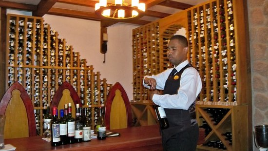 Ti Kaye Resort & Spa: wine cellar getting ready for a wine tasting
