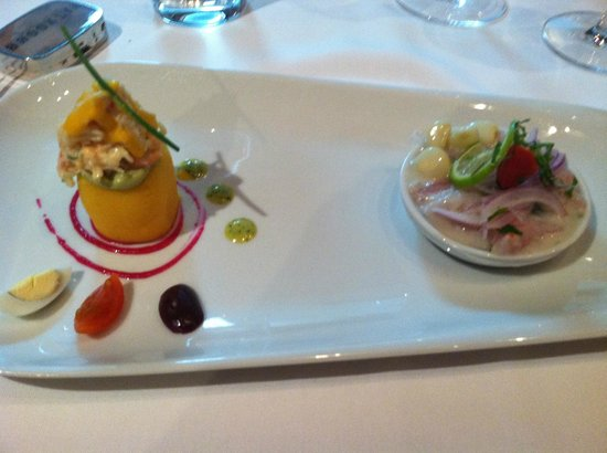 Astrid & Gaston: ceviche and king crab with mashed potoato