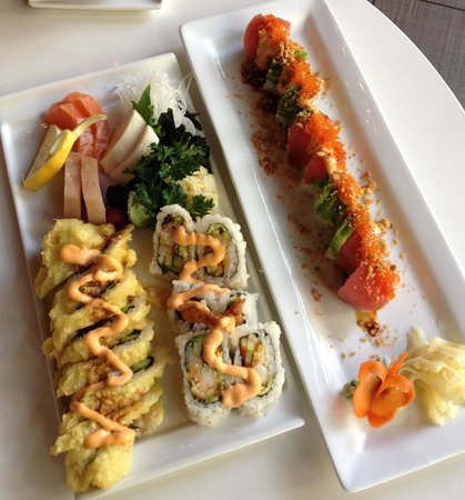 Wasabi: 101 roll, spicy crab roll, sashimi and volcano roll.