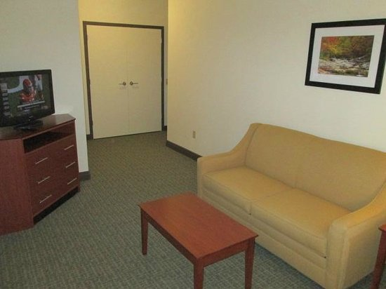 The Carbondale Grand Hotel & Conference Center: Suite Sitting Area w/HDTV & Pullout Couch