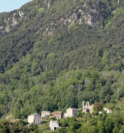 Auberge de L'Alisgiani : View from terrace across the valley to Novale