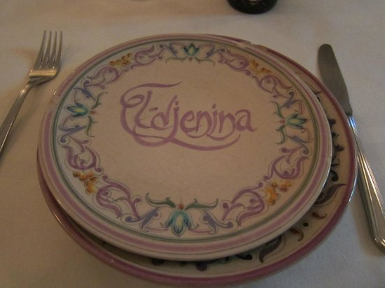 "Plates have ""Jenina"" etched in them."