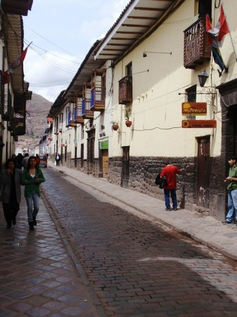 Los Aticos: Main street, outside the hotel