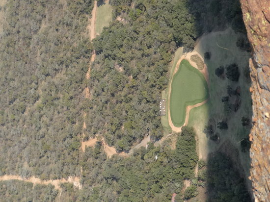 Extreme 19th: Green from top of Mountain where you tee off from