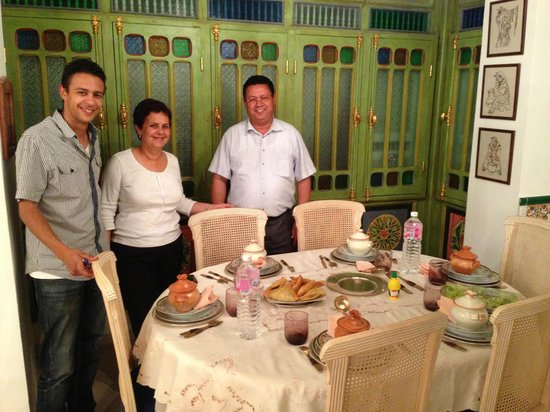 Dar Boumakhlouf : Tarek and his father Ahmed (the owners) and their aunt, Samira, a wonderful cook!