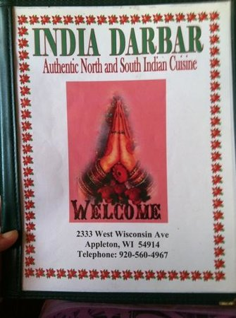 India Darbar: Huge menu with pages and pages of meals!
