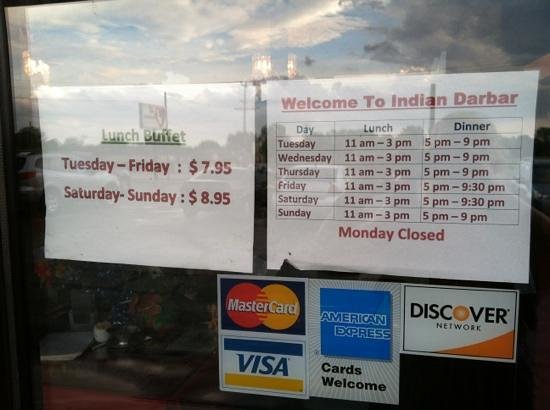 India Darbar: Here are the hours to enjoy the best Indian food in Appleton! Well, I think they're the only Tan