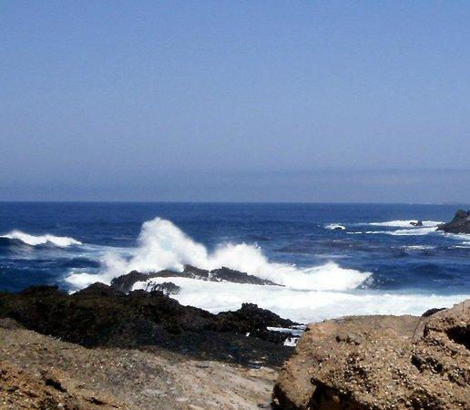 Ophir, Oregón: Down the beach the waves reached the rocks.