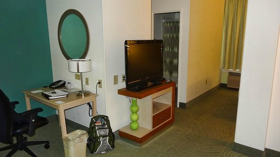 SpringHill Suites Las Cruces : Looking toward bathroom and bedroom from sitting room. TV at dividining point between rooms.