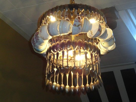 Goodness Gracious Catering & Cafe: Amazing light fixture made of spoons and cups