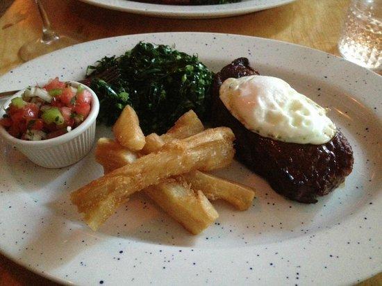 WoodSpoon : Brazilian Steak , Yucca Fries, Collard Greens and Salsa