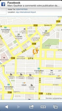 December Hotel Jeju: this map in Korean will help the taxi driver / cette carte en coréen sera utile pour le chauffeu