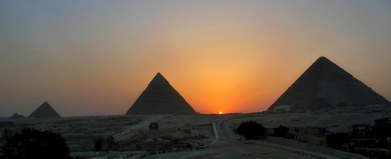 Pyramid sunset from Guardian Guesthouse roof.