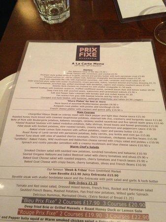 Prix Fixe Brasserie: Good value menu for good food