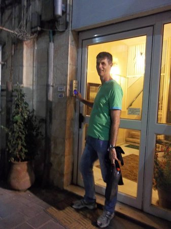 The Jerusalem Little Hotel: The entrance at night.  It is protected by entering a code.