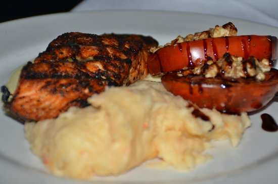 Embers Wood Grill : Wild King Salmon with Fire-roasted Beefsteak broiled tomatoes