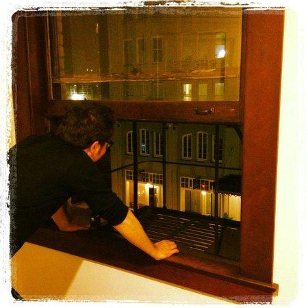 Commodore Hotel: stairwell window