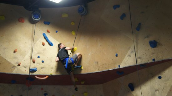 The BLOC climbing + fitness: challenging wall