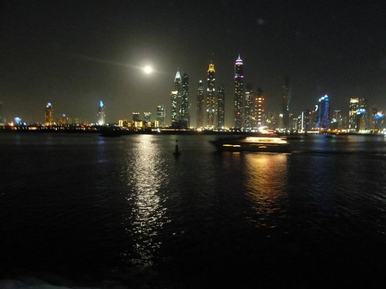 One&Only The Palm Dubai: Dubai skyline at night from jetty