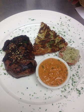 The Village Table: Filet Mignon with potato rostii, and oven baked tomato