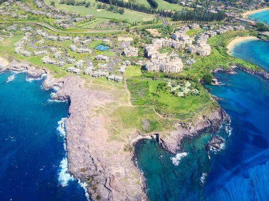 The Kapalua Villas, Maui: View of The Kapalua Villas from helicopter (tour not included in stay)
