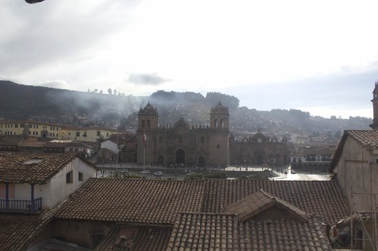 Sonesta Posadas del Inca: View from the third floor suite. Morning, looking out at the Plaza.