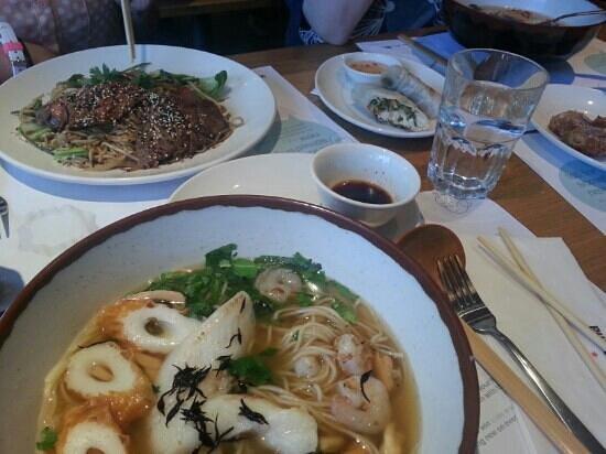 wagamama cambridge: Fish dish, beef dish plus starters