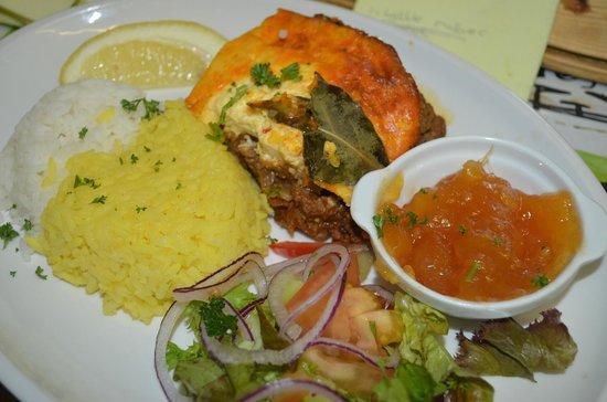 The Cambridge Mostyn Restaurant: Our famous Bobotie dish - more popular than Lasagne!