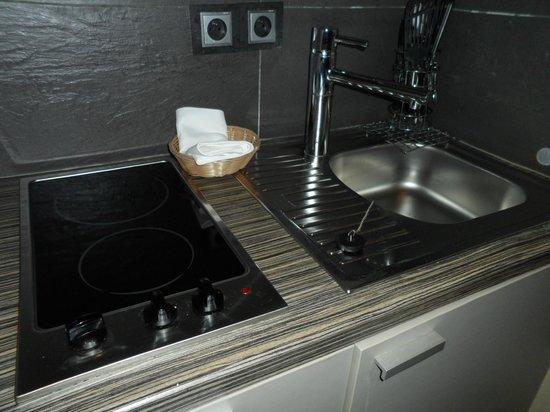 Adagio La Defense Esplanade : The stove top and sink.