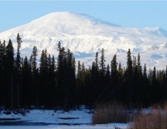 Hart D Ranch : View of Mt. Sanford at 16,237 feet from 1/2 mile Nabesna Road