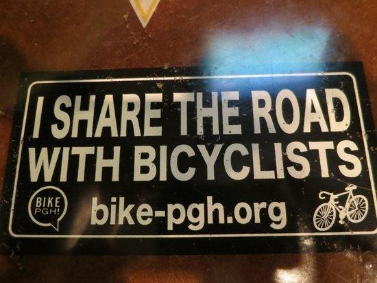 OTB Bicylce Cafe: bike friendly decal