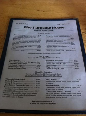 Pancake House : Front of Menu