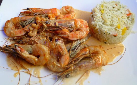 Cafe de l'Hotel de Ville : Shrimp in crayfish sauce (Gambas avec sauce de crevettes)