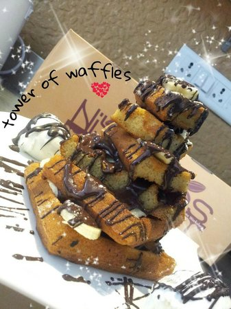 Nibs Cafe & Chocolataria: tower of waffless....bliss!!